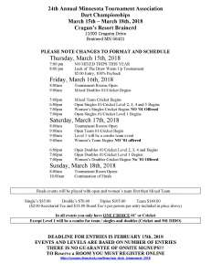 MTA Dart Schedule of Events 18