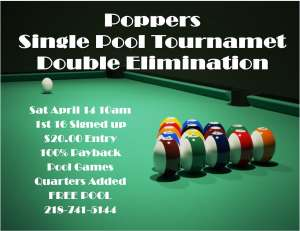 Poppers pool tournament